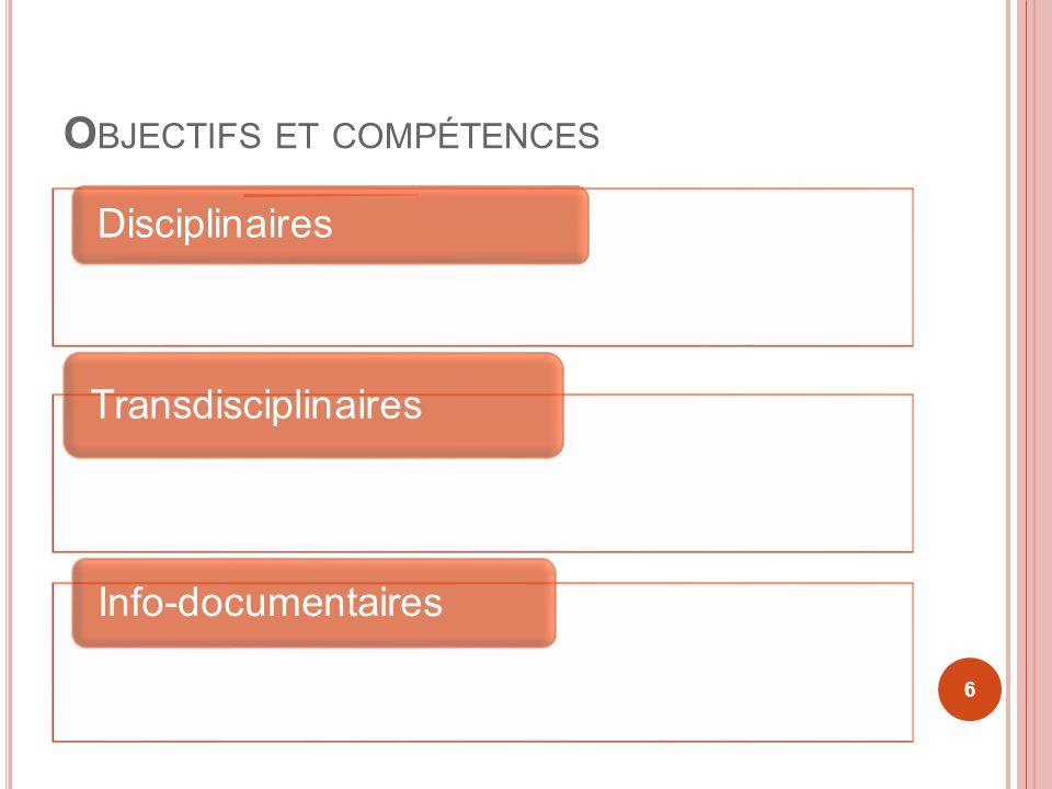 O BJECTIFS ET COMPÉTENCES 6 Disciplinaires Transdisciplinaires Info-documentaires