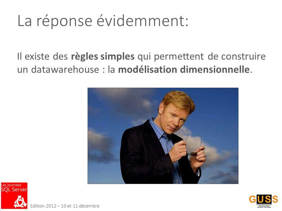 Edition 2012 – 10 et 11 décembre La réponse évidemment: Il existe des règles simples qui permettent de construire un datawarehouse : la modélisation dimensionnelle.