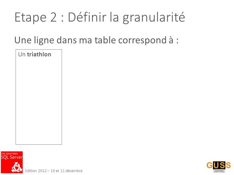 Edition 2012 – 10 et 11 décembre Etape 2 : Définir la granularité Un triathlon Une ligne dans ma table correspond à :