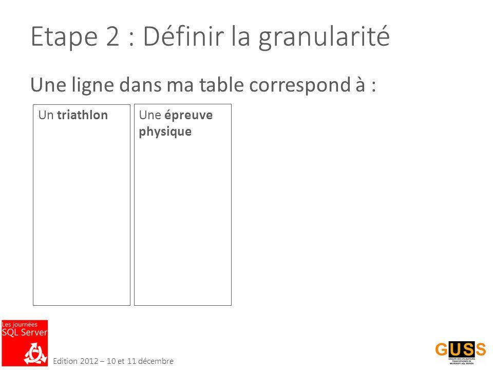 Edition 2012 – 10 et 11 décembre Etape 2 : Définir la granularité Un triathlon Une ligne dans ma table correspond à : Une épreuve physique