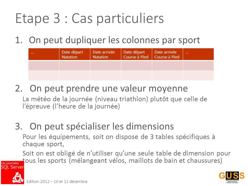 Edition 2012 – 10 et 11 décembre Etape 3 : Cas particuliers 1.On peut dupliquer les colonnes par sport 2.