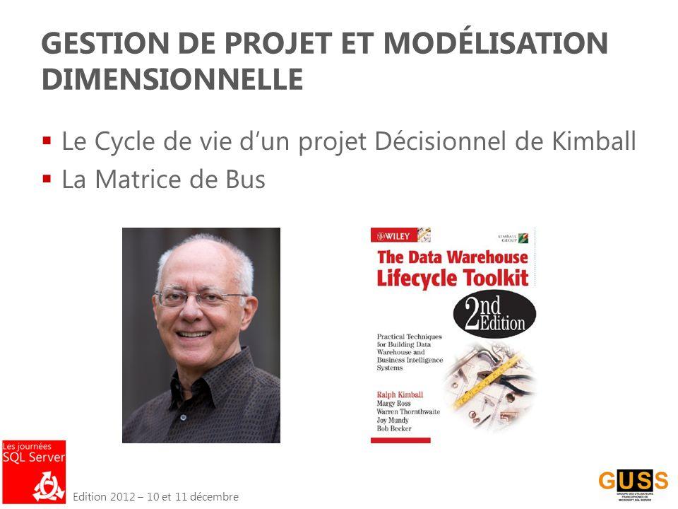 Edition 2012 – 10 et 11 décembre GESTION DE PROJET ET MODÉLISATION DIMENSIONNELLE  Le Cycle de vie d'un projet Décisionnel de Kimball  La Matrice de Bus