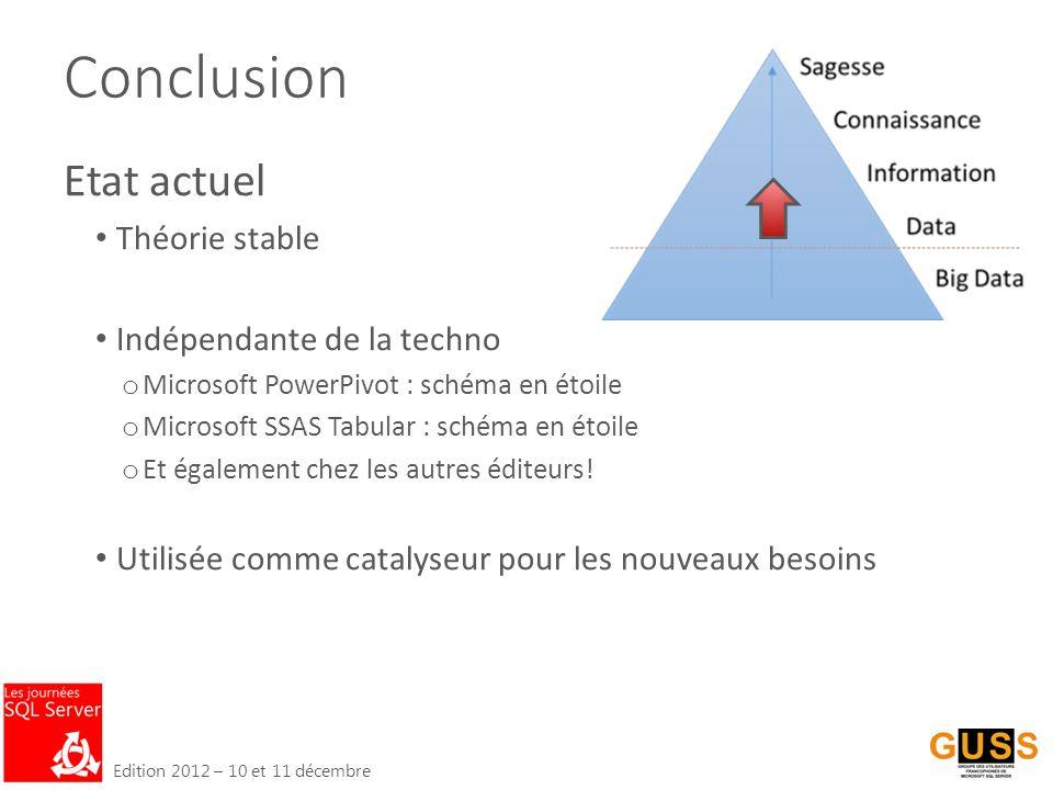 Edition 2012 – 10 et 11 décembre Conclusion Etat actuel Théorie stable Indépendante de la techno o Microsoft PowerPivot : schéma en étoile o Microsoft SSAS Tabular : schéma en étoile o Et également chez les autres éditeurs.
