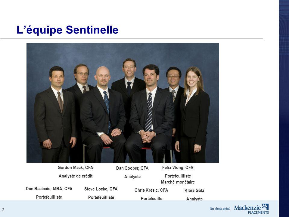 2 L'équipe Sentinelle Chris Kresic, CFA Portefeuille Dan Bastasic, MBA, CFA Portefeuilliste Klara Gotz Analyste Dan Cooper, CFA Analyste Steve Locke,