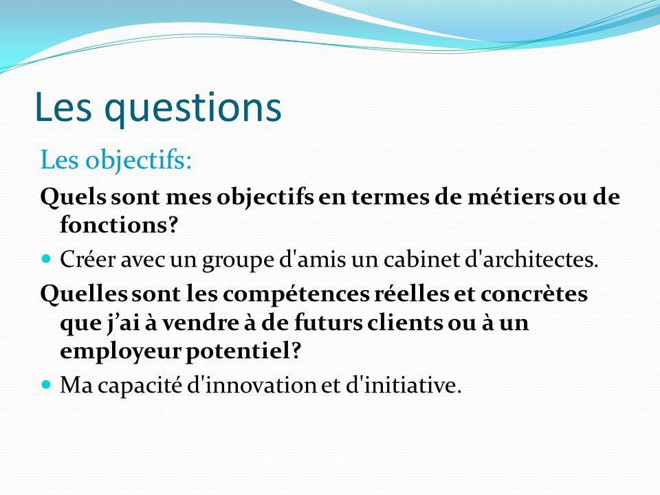 Les questions Les objectifs: Quels sont mes objectifs en termes de métiers ou de fonctions? Créer avec un groupe d'amis un cabinet d'architectes. Quel