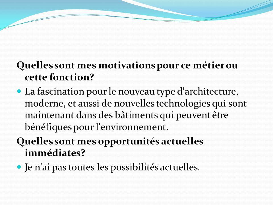 Quelles sont mes motivations pour ce métier ou cette fonction? La fascination pour le nouveau type d'architecture, moderne, et aussi de nouvelles tech