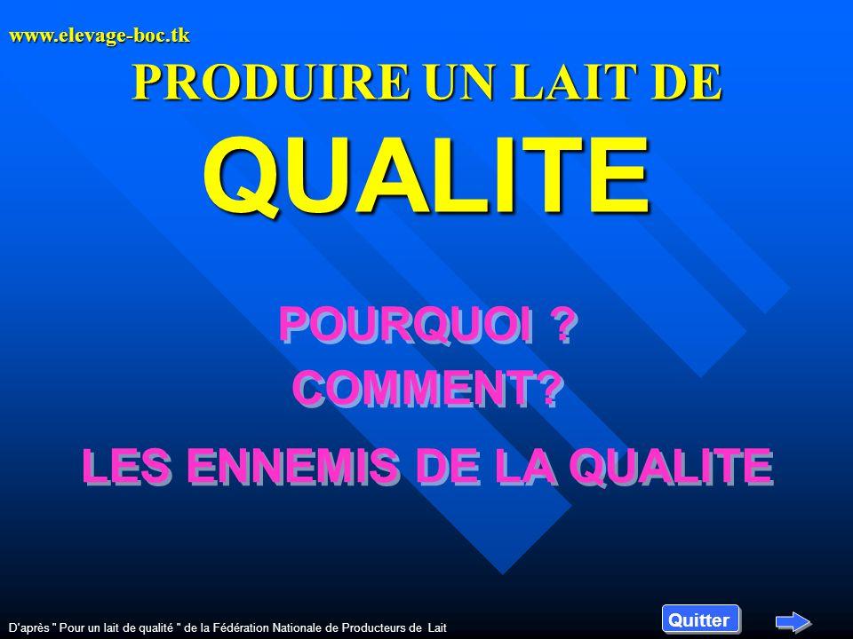 PRODUIRE UN LAIT DE QUALITE POURQUOI .COMMENT.