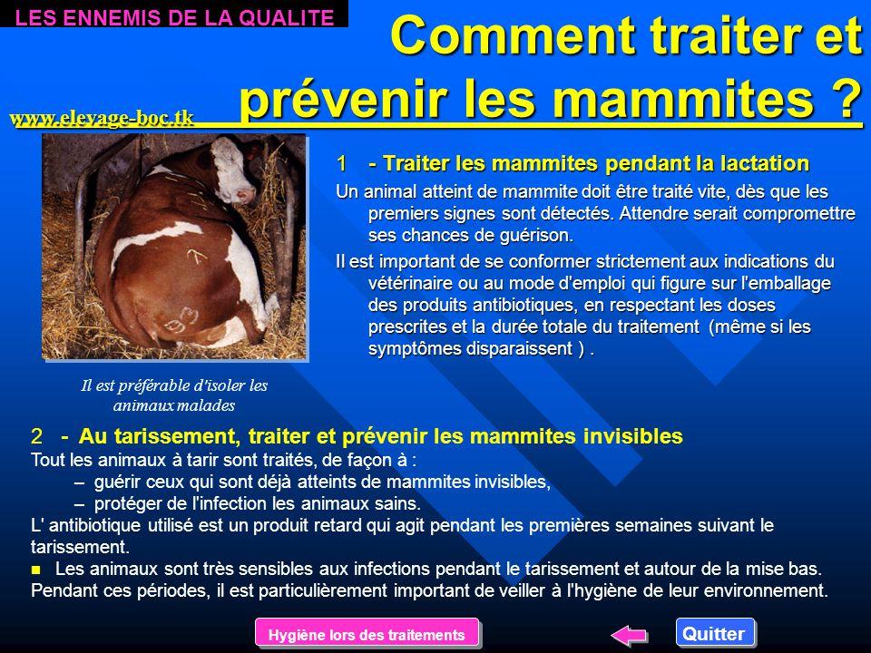 Les mammites Les mammites n Les n Les mammites sont des infections de la mamelle. –Si –Si les signes de l'infection sont visibles (grumeaux dans le la