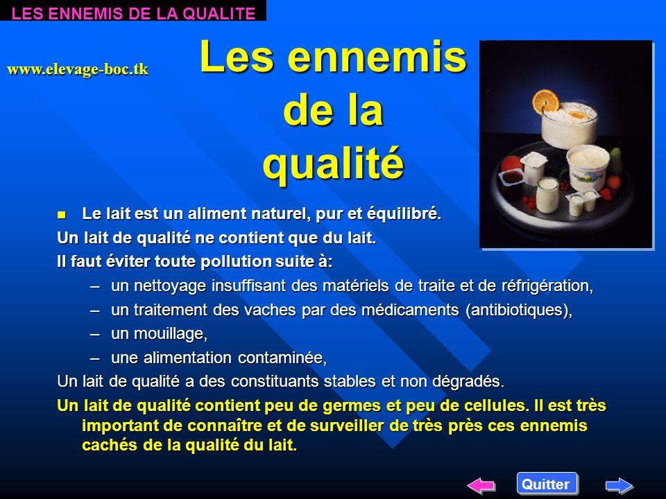 Les ennemis de la qualité n Le n Le lait est un aliment naturel, pur et équilibré.