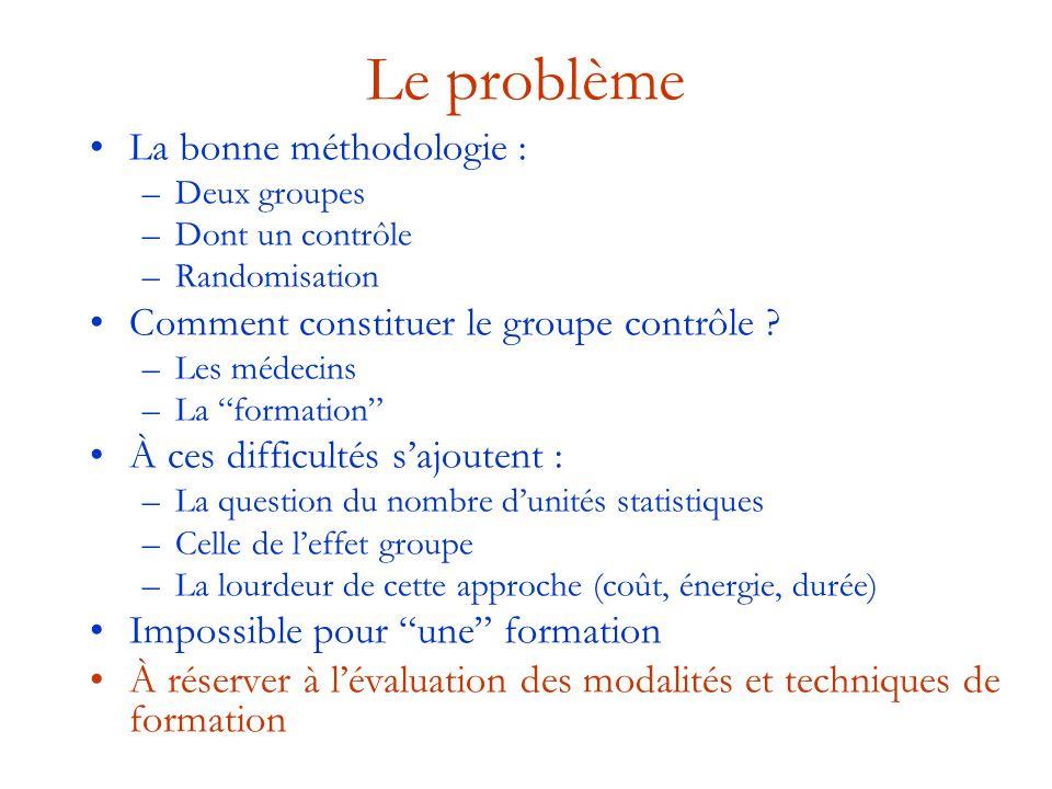 """Le problème La bonne méthodologie : –Deux groupes –Dont un contrôle –Randomisation Comment constituer le groupe contrôle ? –Les médecins –La """"formatio"""