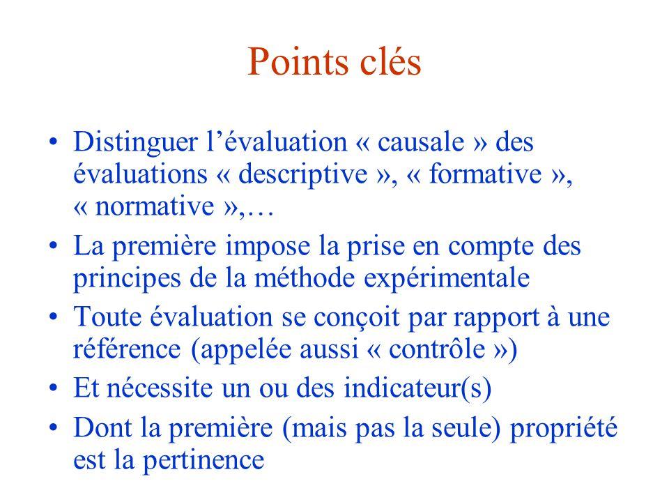 Points clés Distinguer l'évaluation « causale » des évaluations « descriptive », « formative », « normative »,… La première impose la prise en compte