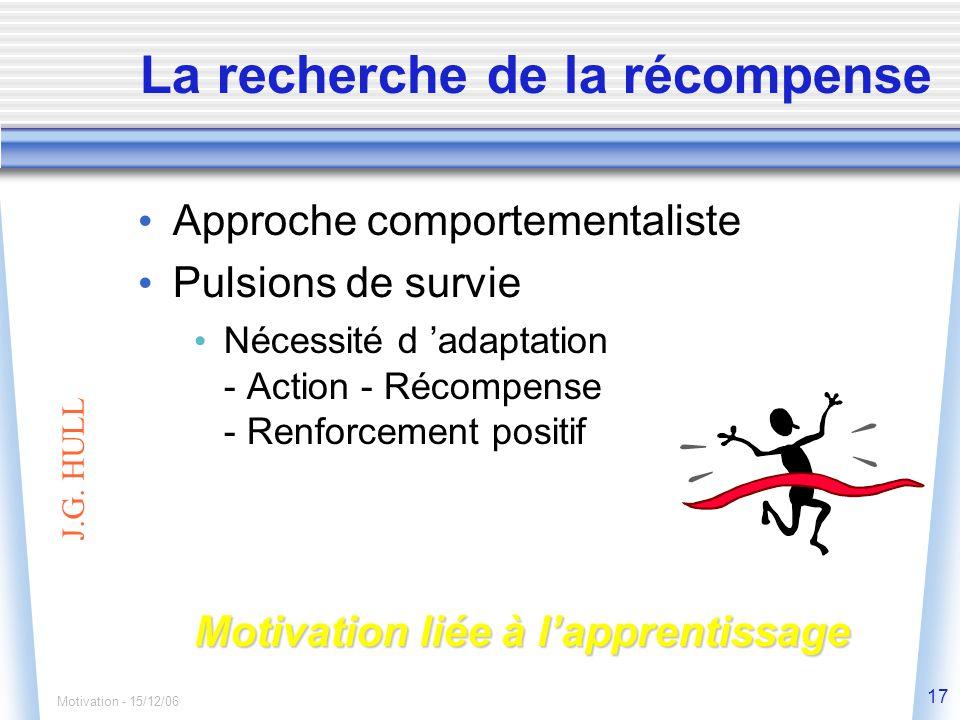 Motivation - 15/12/06 17 La recherche de la récompense J.G.
