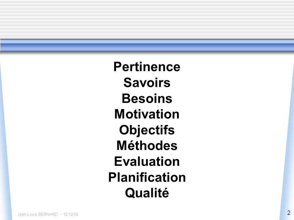 Jean-Louis BERNARD - 15/12/06 2 Pertinence Savoirs Besoins Motivation Objectifs Méthodes Evaluation Planification Qualité
