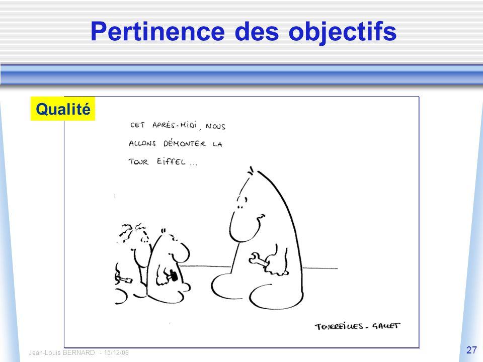 Jean-Louis BERNARD - 15/12/06 27 Pertinence des objectifs Qualité