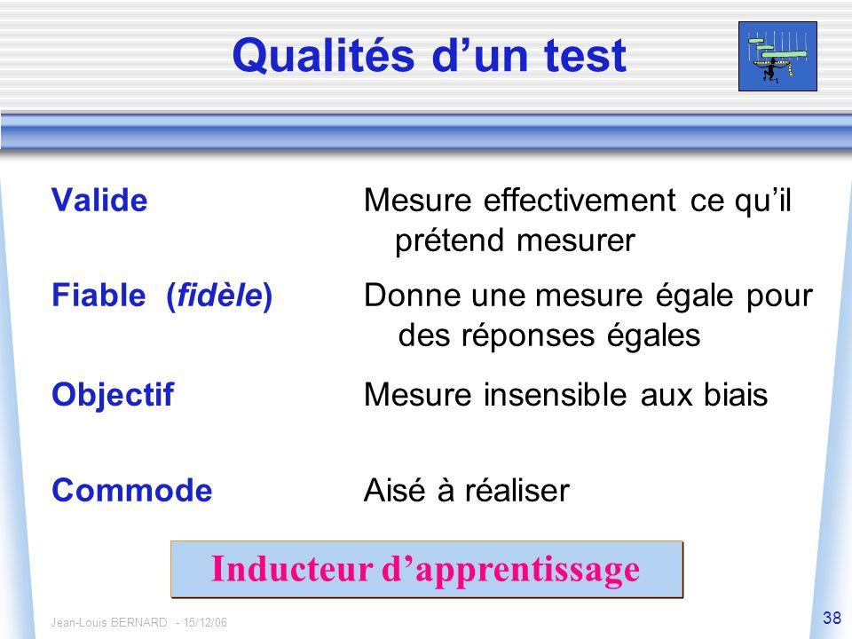 Jean-Louis BERNARD - 15/12/06 38 Qualités d'un test ValideMesure effectivement ce qu'il prétend mesurer Fiable (fidèle)Donne une mesure égale pour des réponses égales ObjectifMesure insensible aux biais CommodeAisé à réaliser Inducteur d'apprentissage