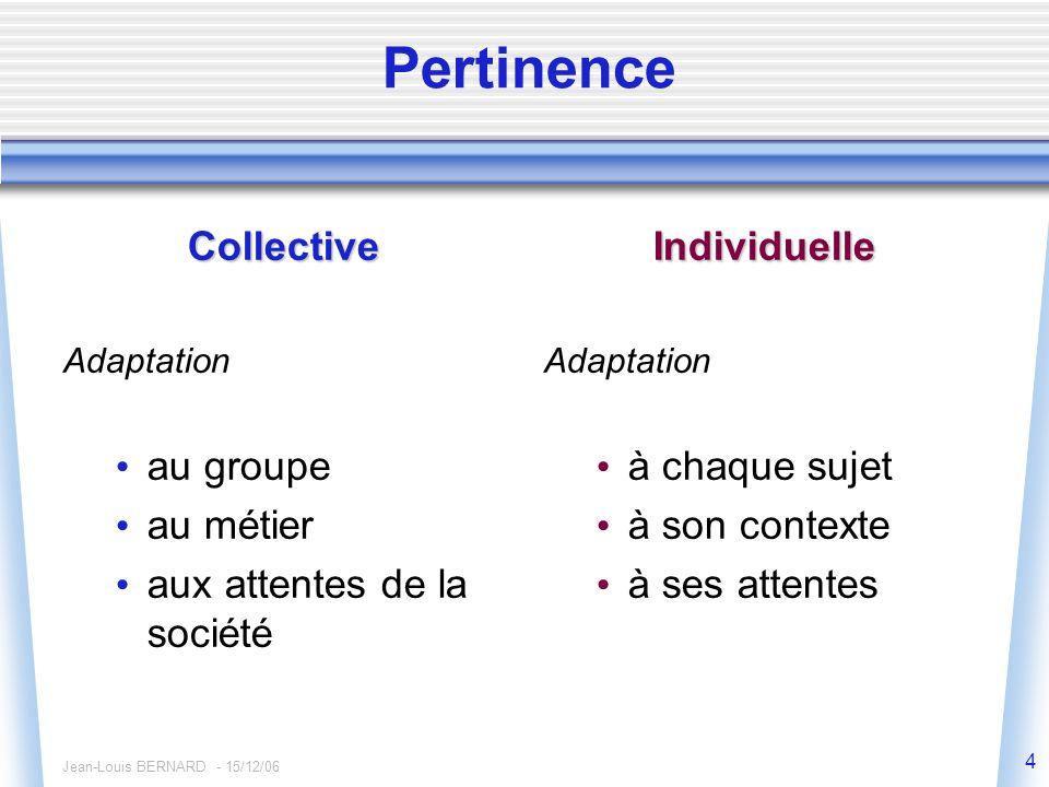 Jean-Louis BERNARD - 15/12/06 4 Pertinence Collective Adaptation au groupe au métier aux attentes de la sociétéIndividuelle Adaptation à chaque sujet à son contexte à ses attentes