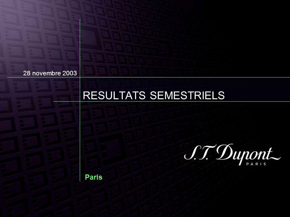 1 er SEMESTRE 2003/2004 Compte de résultat résumé Avancement du plan de déploiement de la marque