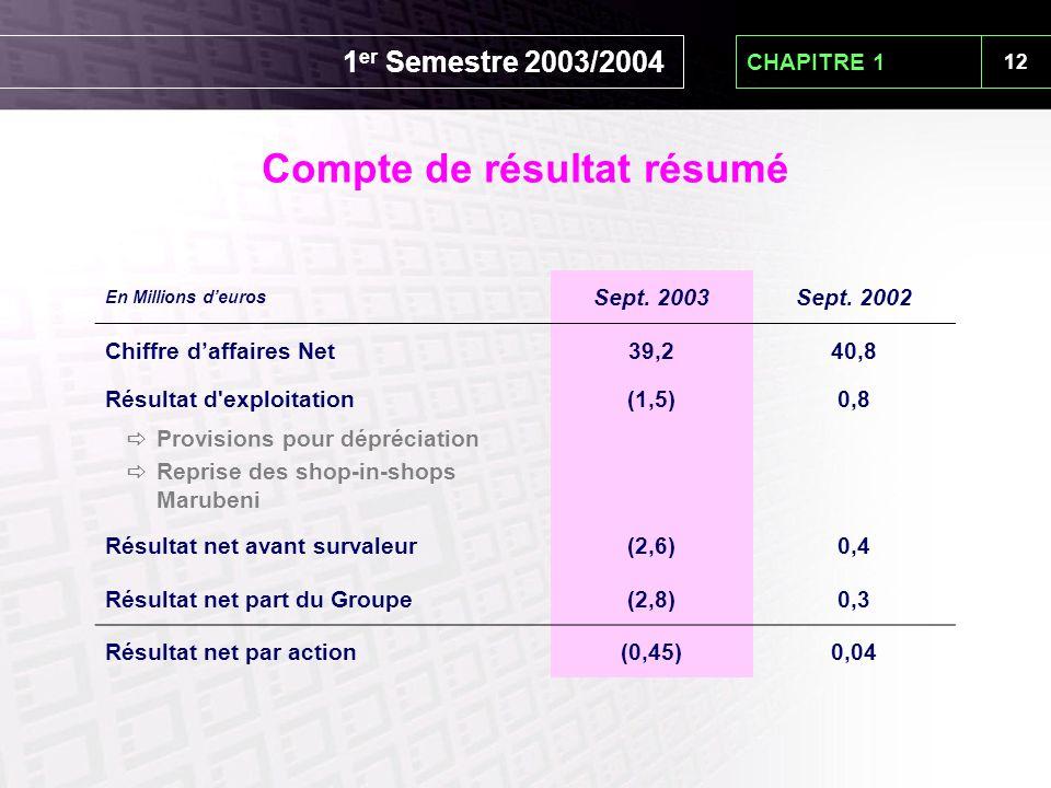 12 CHAPITRE 1 En Millions d'euros Sept. 2003Sept. 2002 Chiffre d'affaires Net39,240,8 Résultat d'exploitation(1,5)0,8  Provisions pour dépréciation 