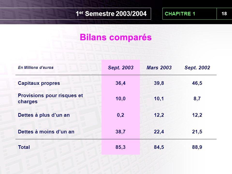 18 CHAPITRE 1 En Millions d'euros Sept. 2003Mars 2003Sept. 2002 Capitaux propres36,439,846,5 Provisions pour risques et charges 10,010,18,7 Dettes à p