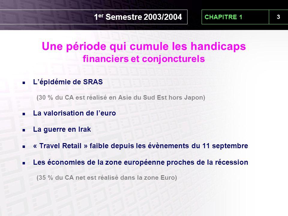 3 1 er Semestre 2003/2004 L'épidémie de SRAS (30 % du CA est réalisé en Asie du Sud Est hors Japon) La valorisation de l'euro La guerre en Irak « Trav