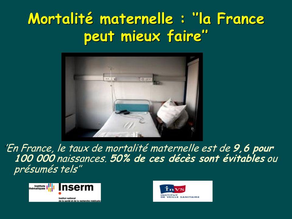 Mortalité maternelle : ''la France peut mieux faire'' ' 'En France, le taux de mortalité maternelle est de 9,6 pour 100 000 naissances. 50% de ces déc