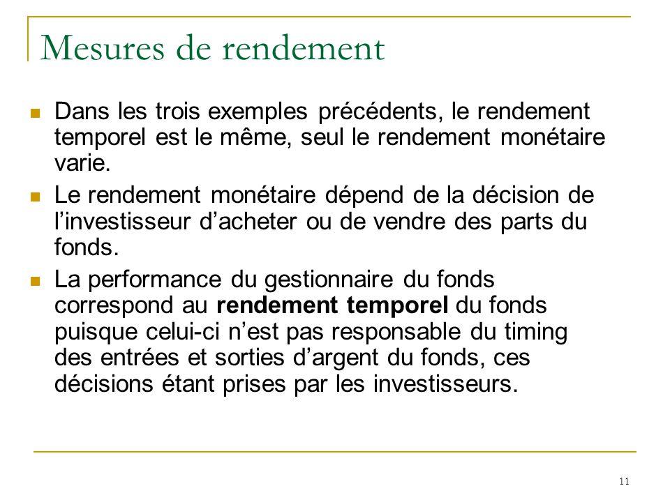11 Mesures de rendement Dans les trois exemples précédents, le rendement temporel est le même, seul le rendement monétaire varie. Le rendement monétai