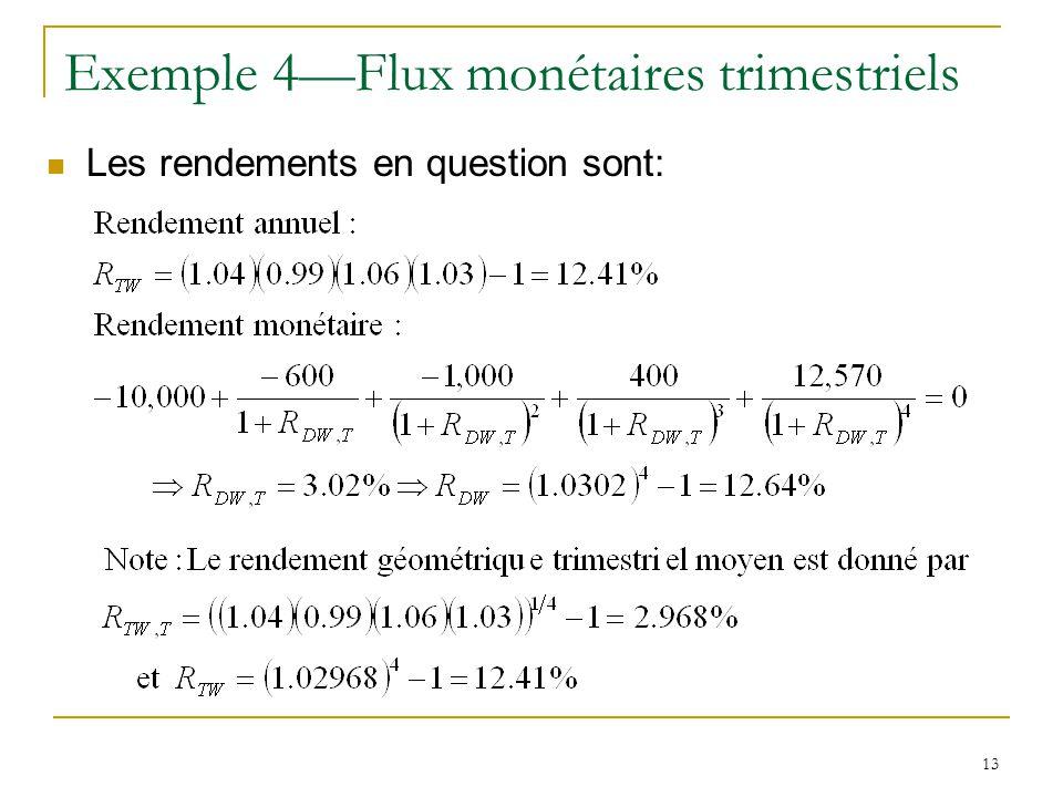 13 Exemple 4—Flux monétaires trimestriels Les rendements en question sont: