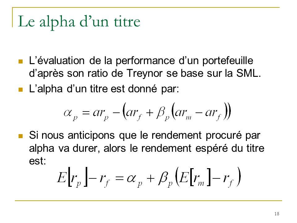 18 Le alpha d'un titre L'évaluation de la performance d'un portefeuille d'après son ratio de Treynor se base sur la SML. L'alpha d'un titre est donné