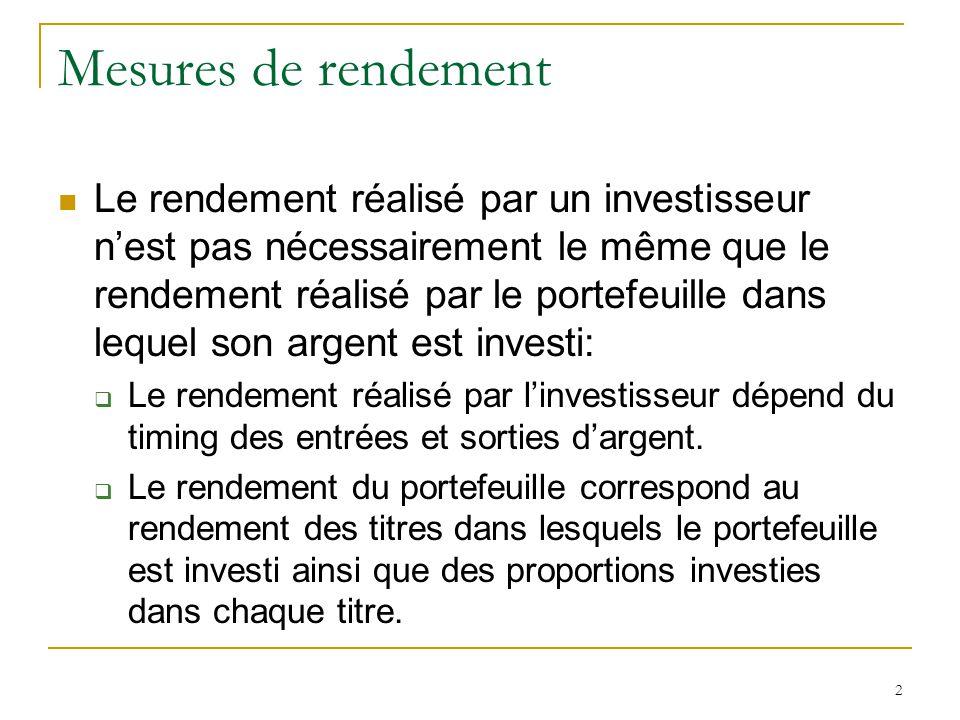 2 Mesures de rendement Le rendement réalisé par un investisseur n'est pas nécessairement le même que le rendement réalisé par le portefeuille dans leq