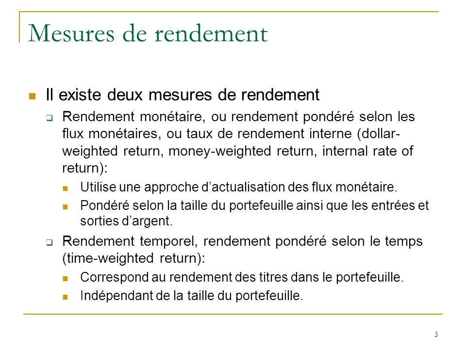 3 Mesures de rendement Il existe deux mesures de rendement  Rendement monétaire, ou rendement pondéré selon les flux monétaires, ou taux de rendement