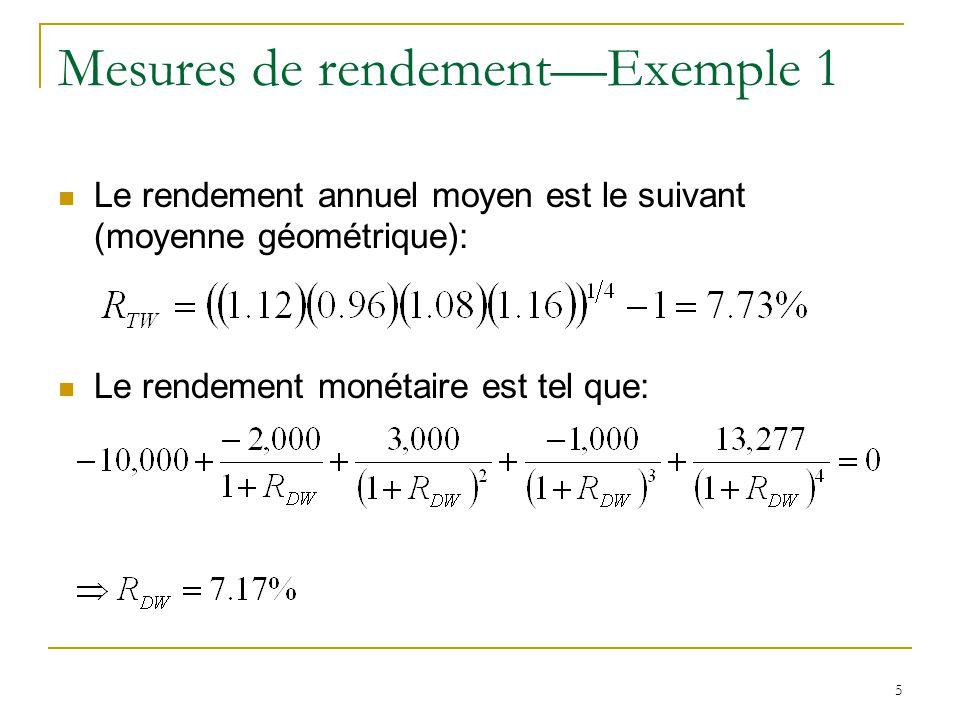 16 Moyenne géométrique versus moyenne arithmétique La moyenne géométrique d'une série de rendements se calcule comme suit (rendements annuels): Elle correspond au rendement constant équivalent aux multiples rendements réalisés (même FV pour une PV donnée).