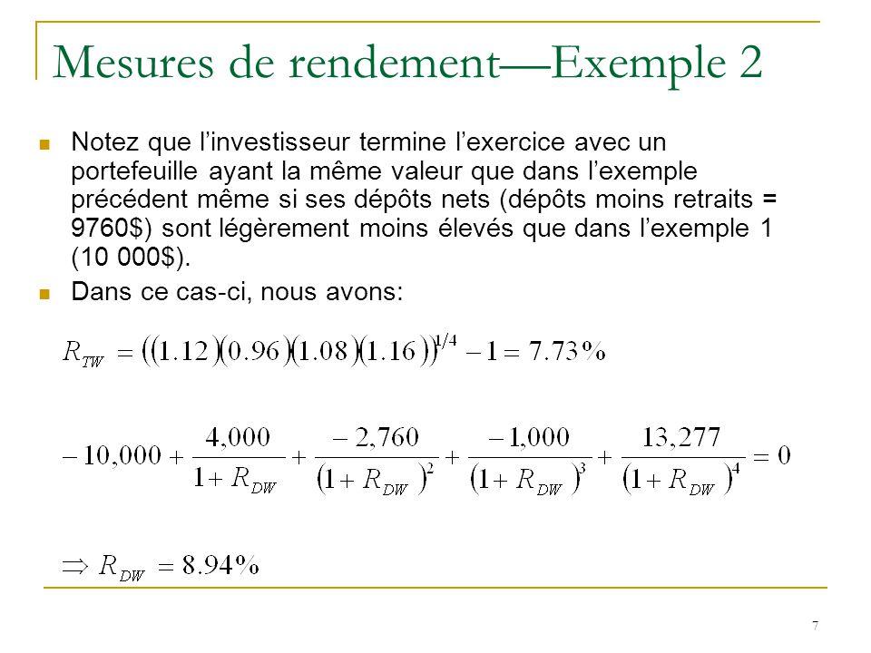 8 Mesures de rendement—Exemple 2 Le rendement temporel moyen du portefeuille est le même dans l'exemple 2 que dans l'exemple 1 mais le rendement monétaire dans l'exemple 2 est plus élevé que dans l'exemple 1 dû à un meilleur timing des dépôts et retraits.