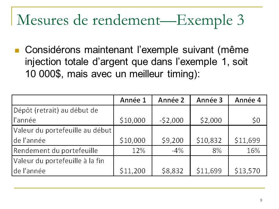 9 Mesures de rendement—Exemple 3 Considérons maintenant l'exemple suivant (même injection totale d'argent que dans l'exemple 1, soit 10 000$, mais ave
