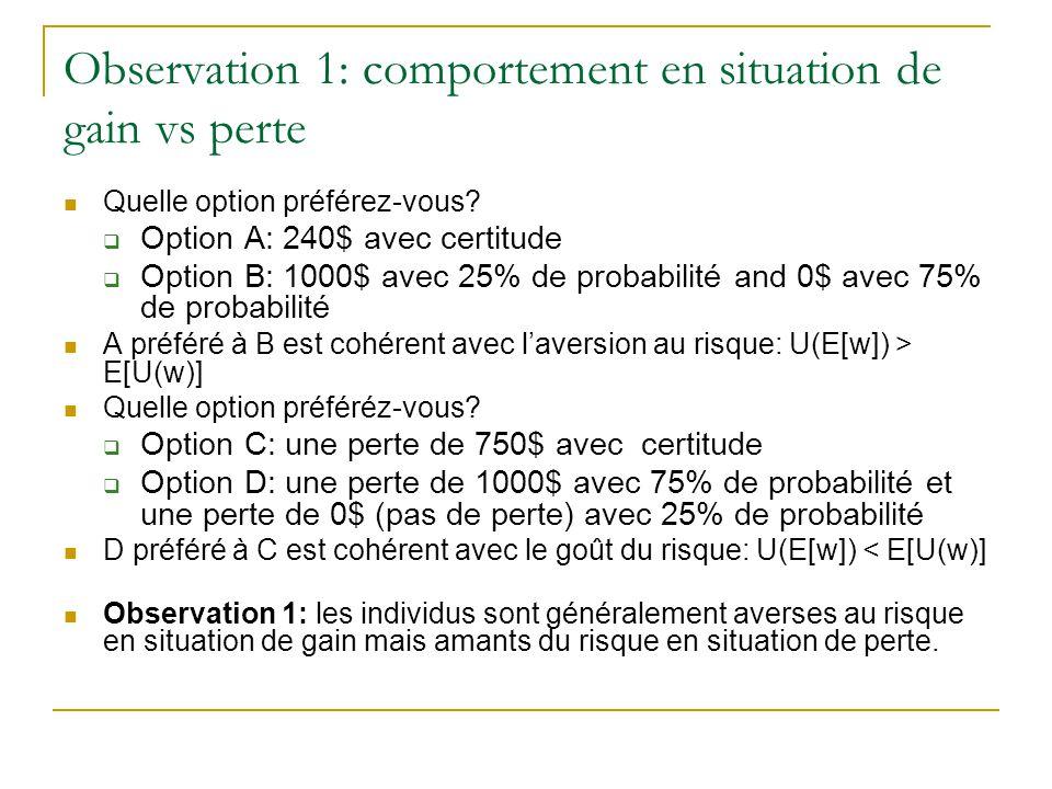 Observation 1: comportement en situation de gain vs perte Quelle option préférez-vous?  Option A: 240$ avec certitude  Option B: 1000$ avec 25% de p