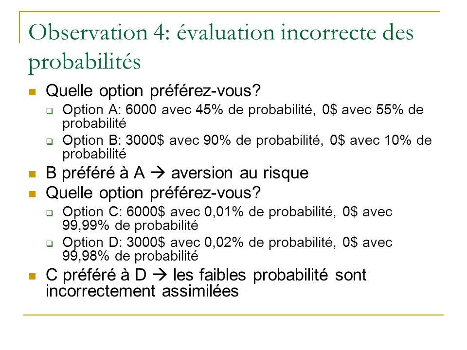 Observation 4: évaluation incorrecte des probabilités Quelle option préférez-vous?  Option A: 6000 avec 45% de probabilité, 0$ avec 55% de probabilit