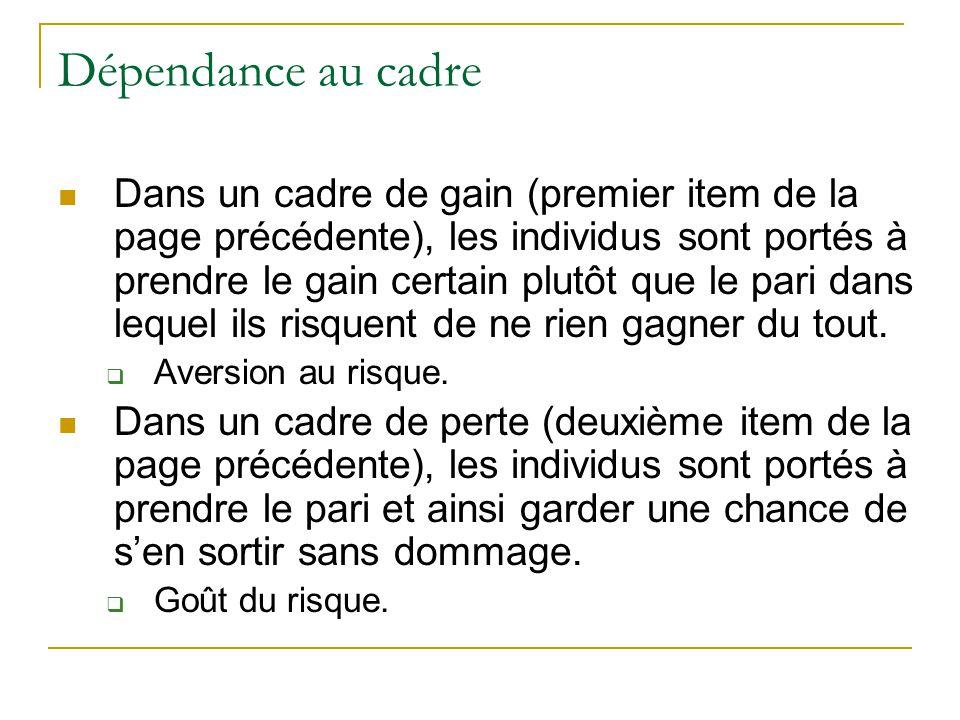 Dépendance au cadre Dans un cadre de gain (premier item de la page précédente), les individus sont portés à prendre le gain certain plutôt que le pari