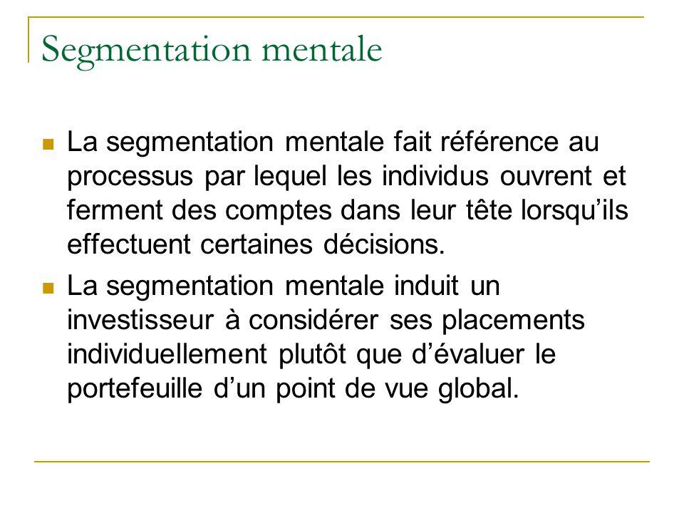 Segmentation mentale La segmentation mentale fait référence au processus par lequel les individus ouvrent et ferment des comptes dans leur tête lorsqu