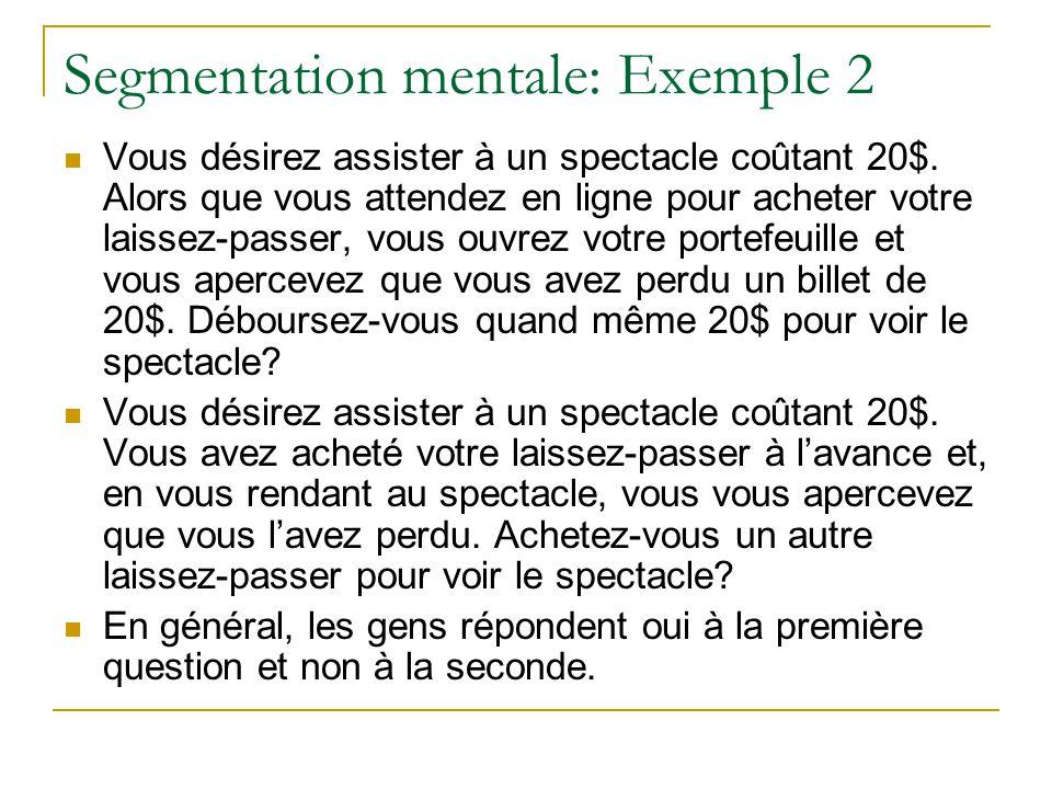 Segmentation mentale: Exemple 2 Vous désirez assister à un spectacle coûtant 20$. Alors que vous attendez en ligne pour acheter votre laissez-passer,