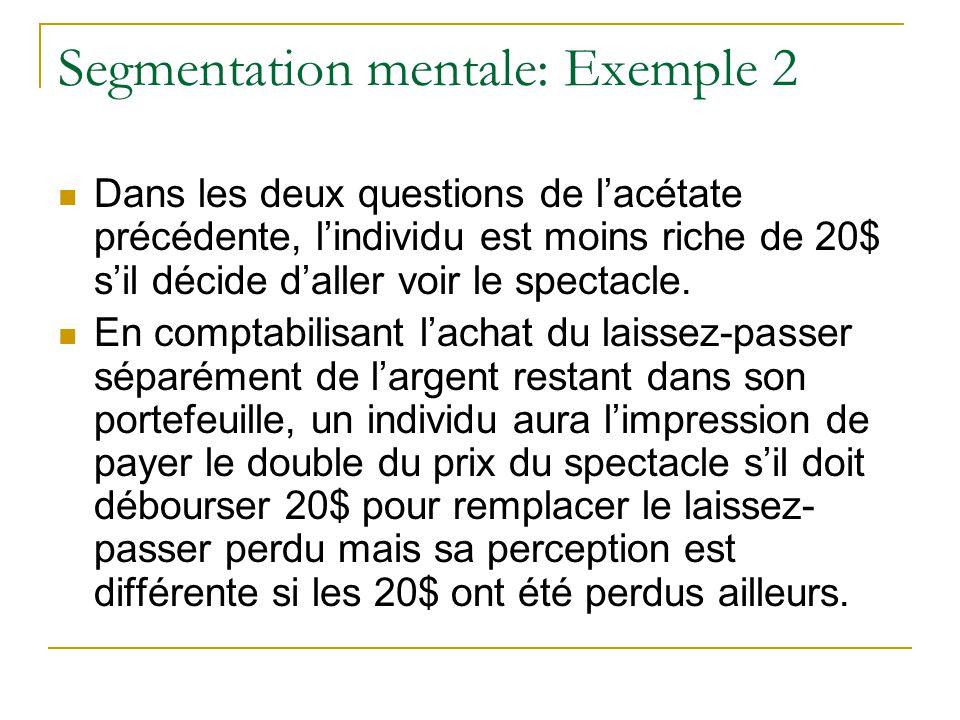 Segmentation mentale: Exemple 2 Dans les deux questions de l'acétate précédente, l'individu est moins riche de 20$ s'il décide d'aller voir le spectac
