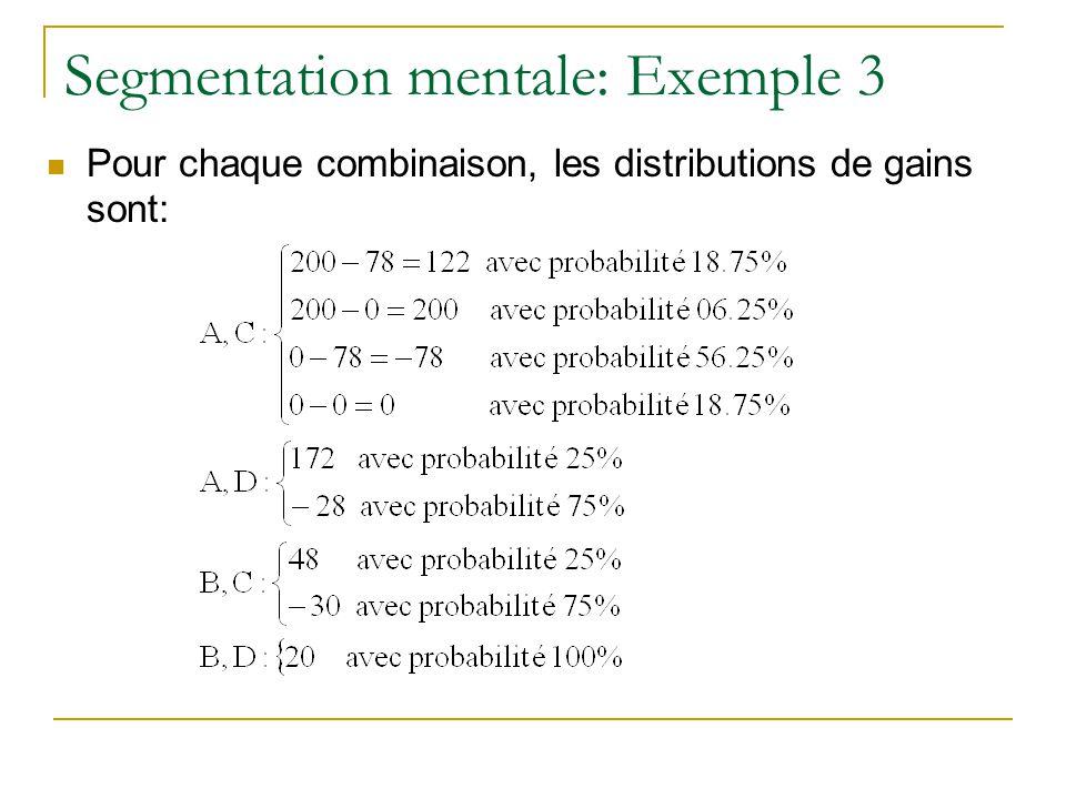 Segmentation mentale: Exemple 3 Pour chaque combinaison, les distributions de gains sont: