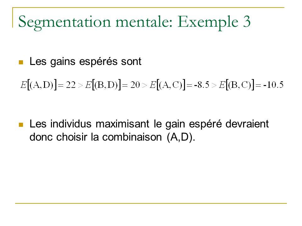 Segmentation mentale: Exemple 3 Les gains espérés sont Les individus maximisant le gain espéré devraient donc choisir la combinaison (A,D).