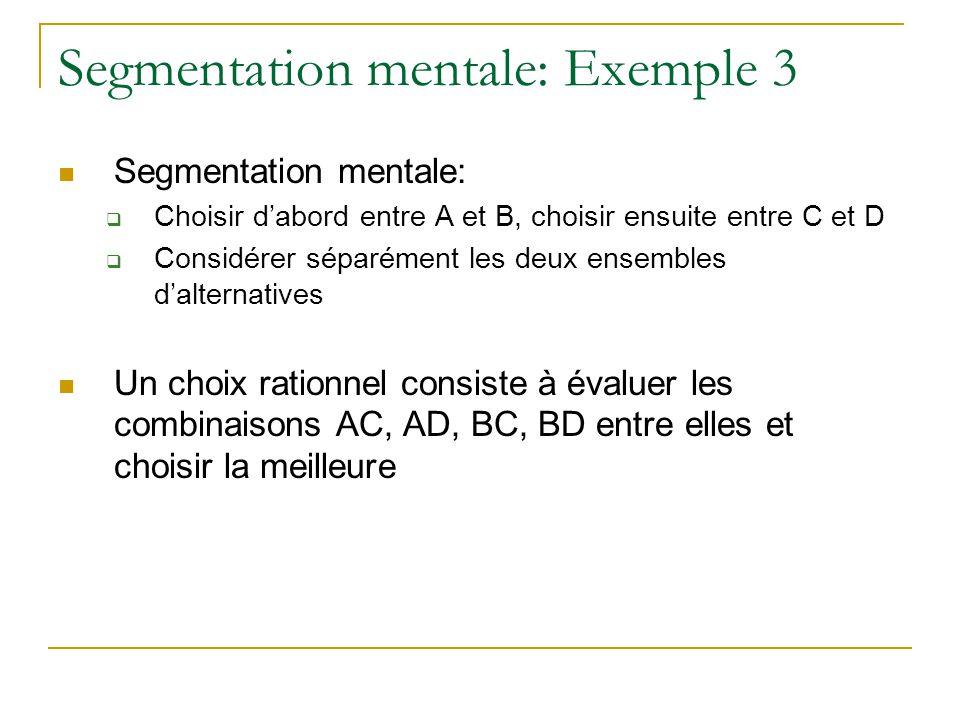 Segmentation mentale: Exemple 3 Segmentation mentale:  Choisir d'abord entre A et B, choisir ensuite entre C et D  Considérer séparément les deux en