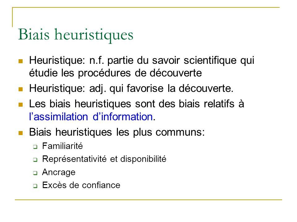 Biais heuristiques Heuristique: n.f. partie du savoir scientifique qui étudie les procédures de découverte Heuristique: adj. qui favorise la découvert
