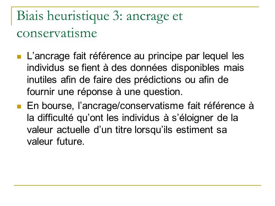Biais heuristique 3: ancrage et conservatisme L'ancrage fait référence au principe par lequel les individus se fient à des données disponibles mais in