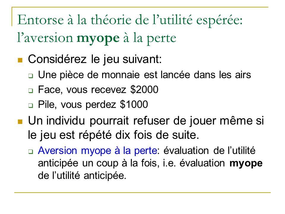 Entorse à la théorie de l'utilité espérée: l'aversion myope à la perte Considérez le jeu suivant:  Une pièce de monnaie est lancée dans les airs  Fa