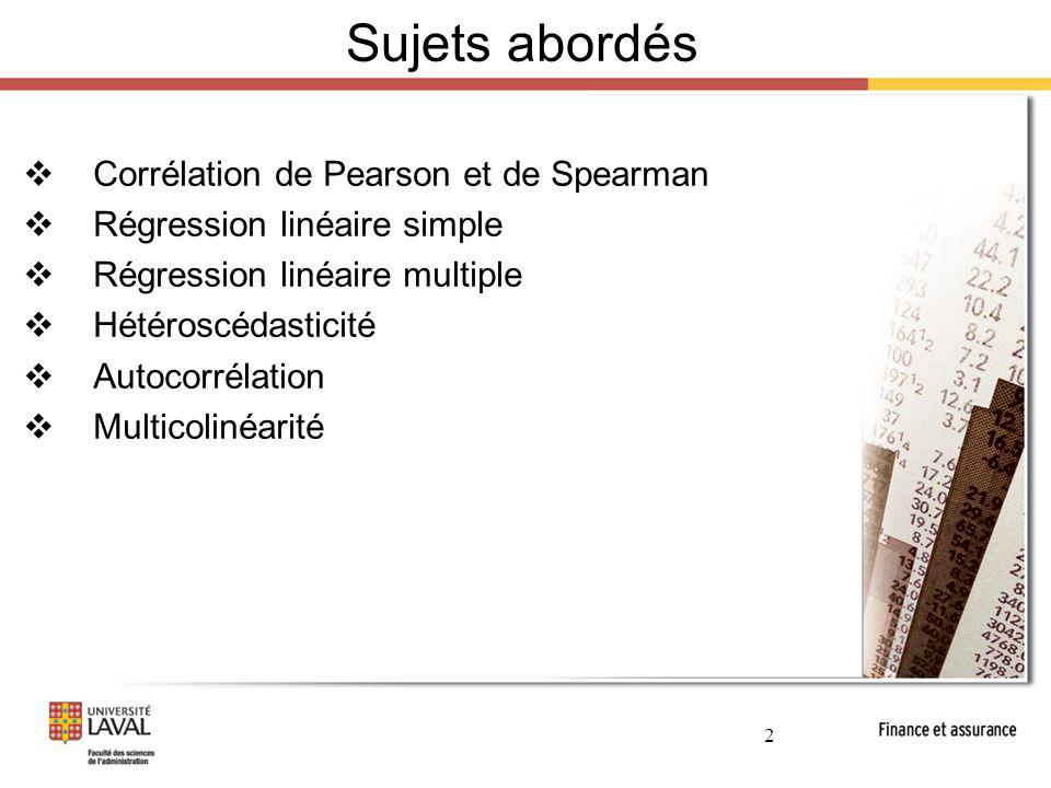 3 Lien de dépendance L'analyse de la dépendance entre deux variables se fait généralement via :  Un nuage de points  L'analyse de corrélation  Coefficient de Pearson (linéaire)  Corrélation de Spearman (basée sur les rangs)