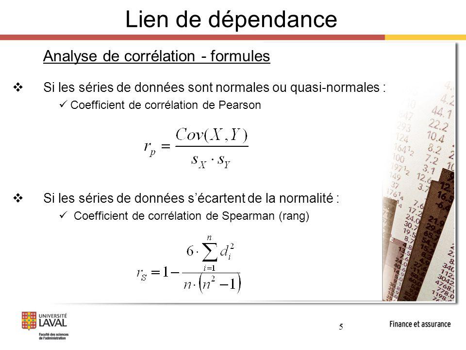 6 Lien de dépendance Analyse de corrélation - limites  Présence d'un lien de dépendance non-linéaire  Présence de données aberrantes (extrêmes)  Biais de corrélation illusoire (« Spurious correlation ») La dépendance est le fruit du hasard d'échantillonage Les deux variables dépendent elles-mêmes d'une 3 ième variable commune