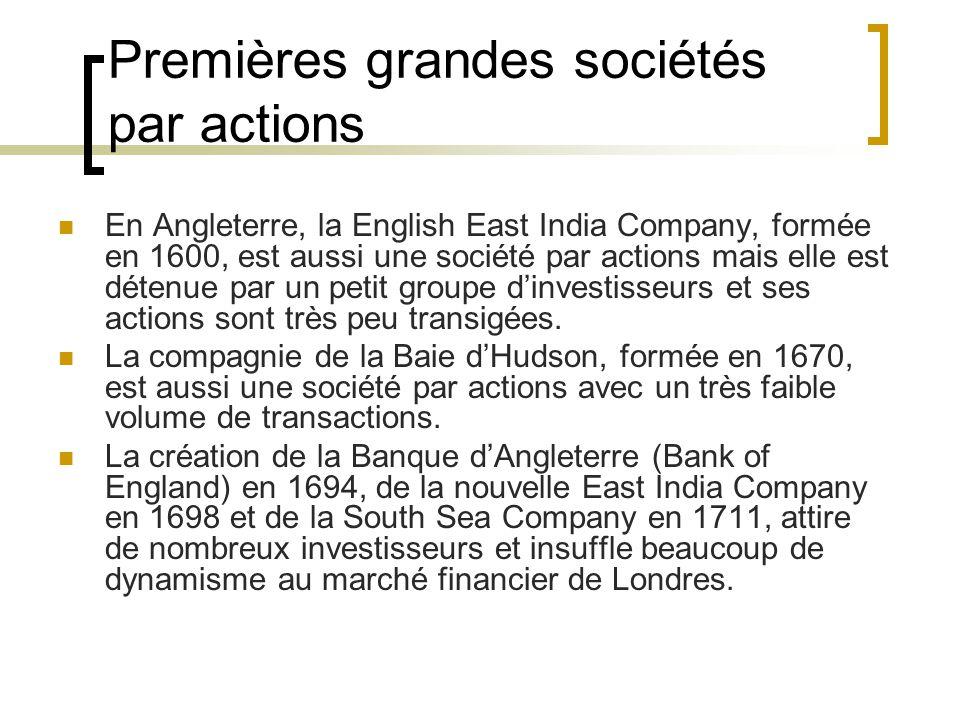 Premières grandes sociétés par actions En Angleterre, la English East India Company, formée en 1600, est aussi une société par actions mais elle est détenue par un petit groupe d'investisseurs et ses actions sont très peu transigées.