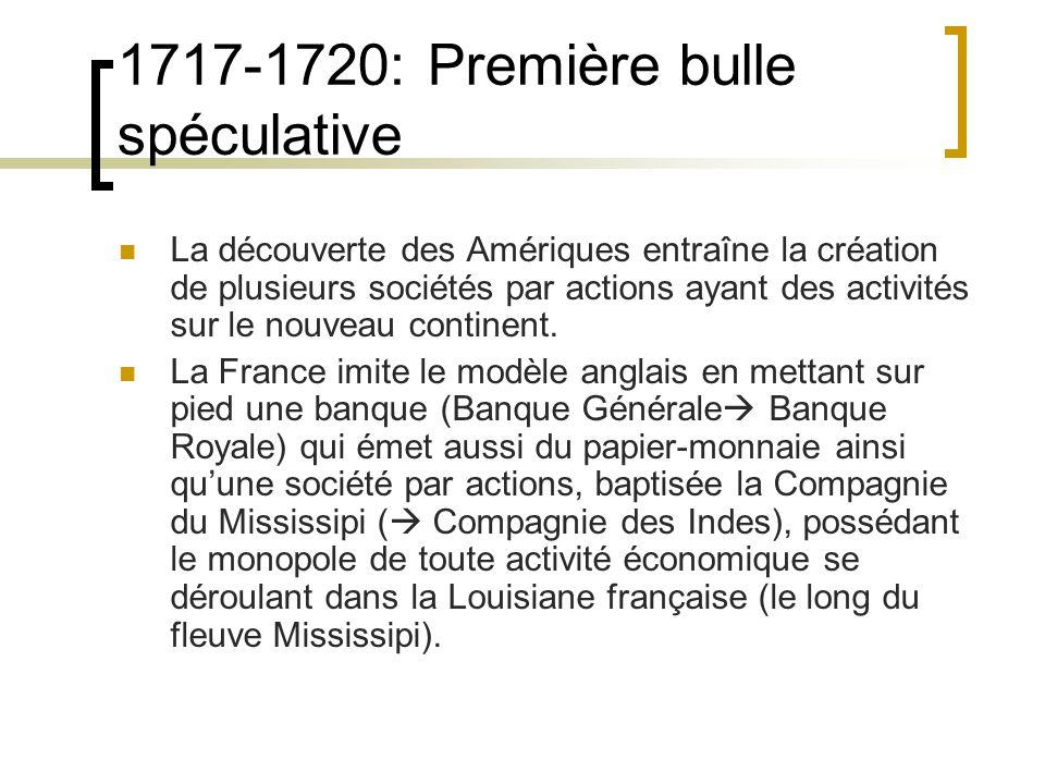 1717-1720: Première bulle spéculative La découverte des Amériques entraîne la création de plusieurs sociétés par actions ayant des activités sur le nouveau continent.