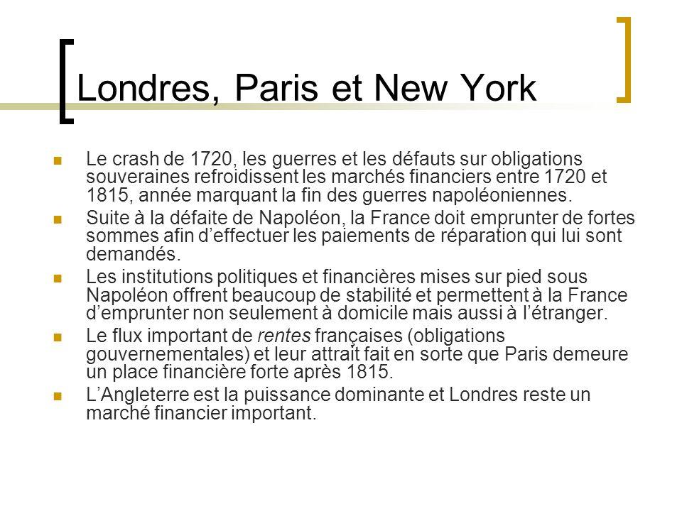 Londres, Paris et New York Le crash de 1720, les guerres et les défauts sur obligations souveraines refroidissent les marchés financiers entre 1720 et 1815, année marquant la fin des guerres napoléoniennes.